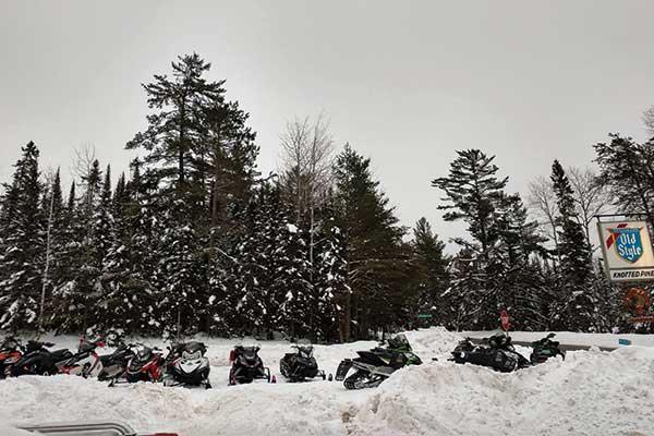 The Yukon trail, snowmobile trails, Knotted Pine Inn & Tavern