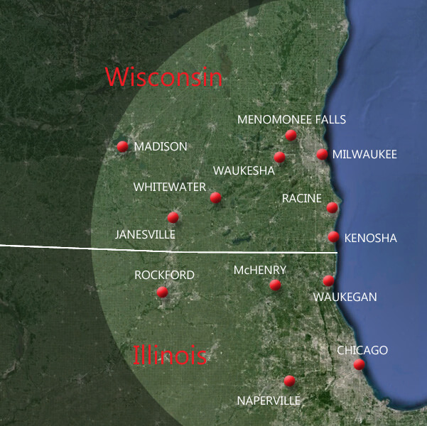 Absolute DKI provides services to the southeastern portion of Wisconsin and the northeastern portion of Illinois.