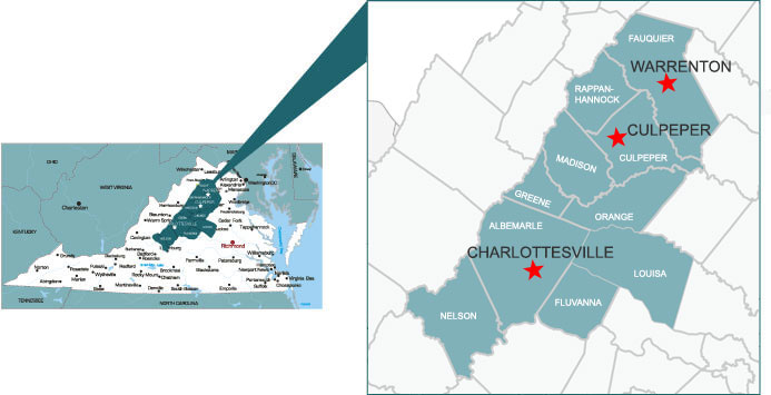 ServiceMaster of Charlottesville Service Area Map