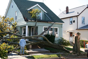 storm damage and debris removal in