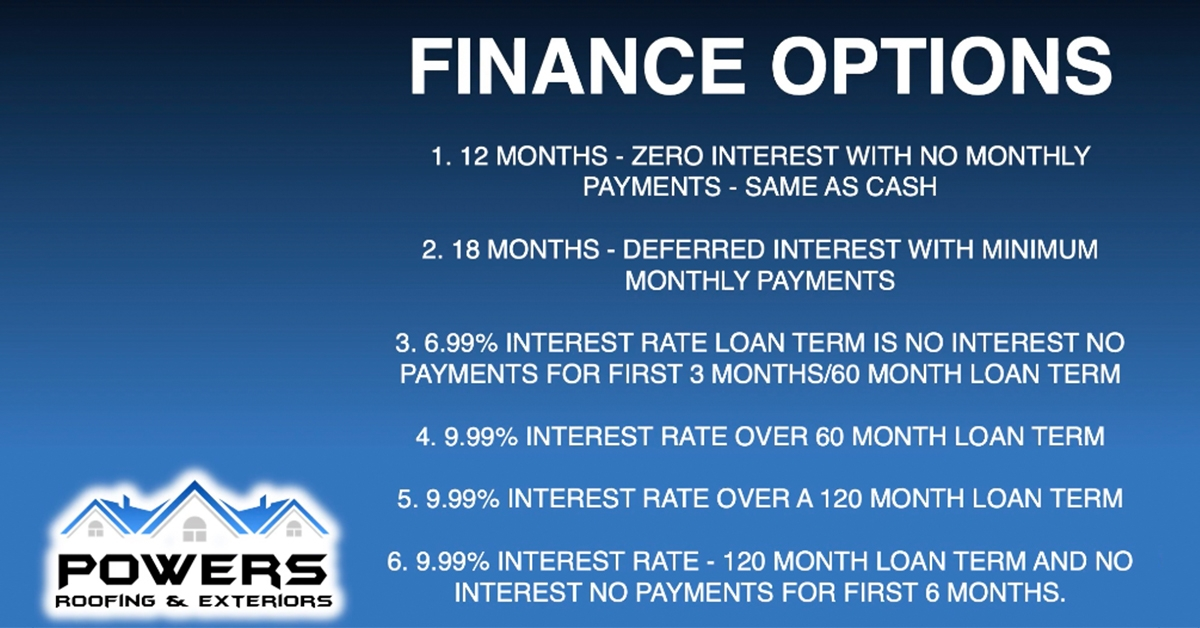 Powers Roofing Financing Options