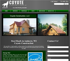 Virtual Vision Computing - Wausau WI launches new Website for Coyote Construction of Amherst WI