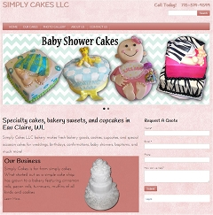 Virtual Vision Computing - Wausau WI launches new Website for Simply Cakes LLC of Eau Claire