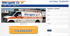 Virtual Vision Computing launches new Website for Wiersgalla Plumbing and Heating in Eau Claire WI