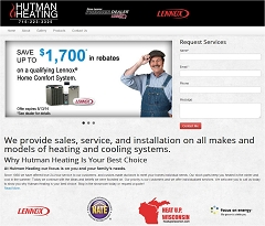 Virtual Vision Computing - Wausau WI launches new Website for Hutman Heating in Abbotsford WI