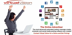 Virtual Vision's Online Advertiser automates messages with pictures that will appear in your Twitter News Feed about your products and services.
