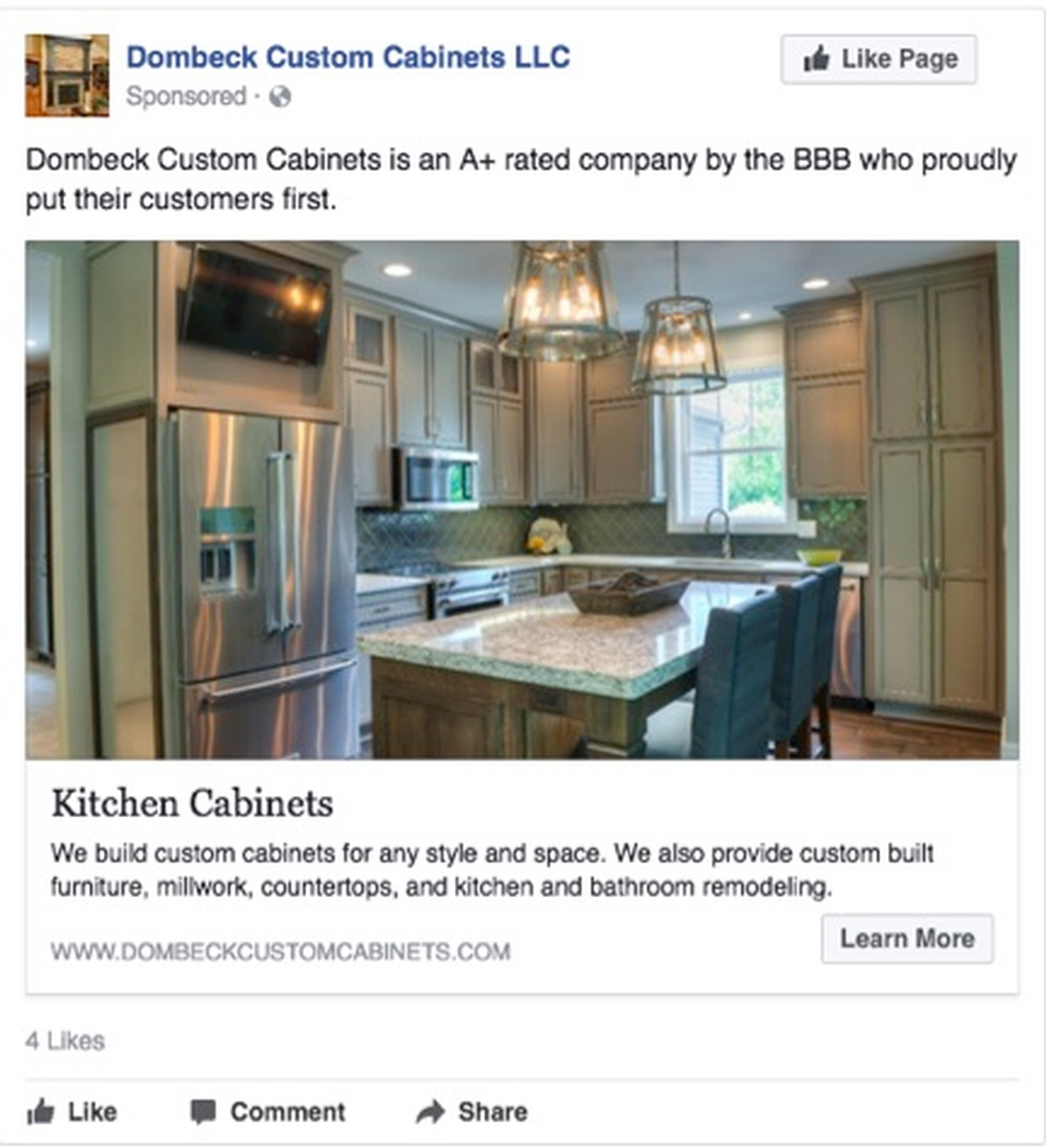 Virtual Vision launched a click to website ad campaign for Dombeck Custom Cabinets.