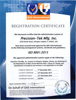 Precision-Tek Mfg., Inc. is ISO-9001:2015 Certified