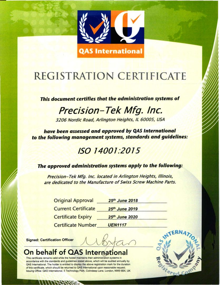 Precision-Tek Mfg., Inc. is ISO-14001:2015 Certified